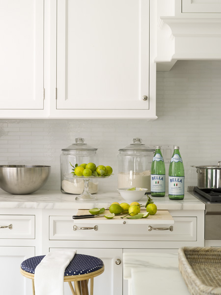 Orrick and Company - kitchens - built-in, pull out, cutting board, white, kitchen cabinets, calcutta, marble, countertops, mosaic, glass tiles, backsplash, glass, canisters, Pellegrino, wood, stool, upholstered, blue, fabric, pull out cutting board, hidden cutting board, built in cutting board,