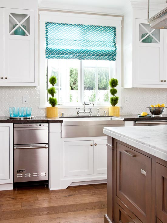 BHG - kitchens - topiary, white, kitchen cabinets, black, limestone, countertops, coffee stained, kitchen island, marble, countertop, stainless steel, apron, farmhouse, sink, turquoise, blue, China Seas, Java java, fabric, custom, roman shades, turquoise roman shade, turquoise blue roman shade, turquoise accents, turquoise kitchen accents, stacked dishwashers, double dishwashers, stainless steel apron sink,