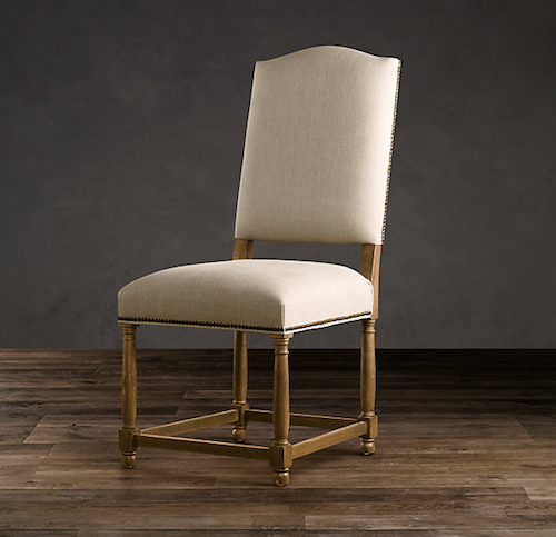 Restoration hardware empire camelback side chair look 4 less for Dining chairs for less