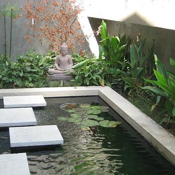 Nadia Designs - gardens - zen, koi, pond, stone, buddha, zen garden,  Zen koi pond with Buddha.
