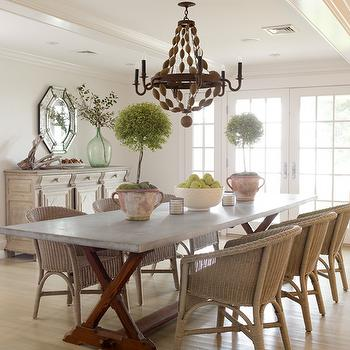 Orrick and Company - dining rooms - trestle, dining table, wicker, chairs, topiaries, French doors, octagon, mirror, recycled, glass, bottle, vase, dining chairs, woven dining chairs, wicker dining chairs, beaded wood chandelier, BoBo Intriguing Objects Ball Chandelier,