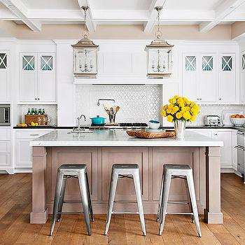 BHG - kitchens - coffered, ceiling, white, kitchen cabinets, black, honed, limestone, countertop, light, coffee stained, kitchen island, marble, countertop, pot filler, sink in kitchen island, polished nickel, lanterns, white, Moorish, arabesque, tiles, backsplash, tolix stools, tolix marais stools, tolix bar stools, tolix counter stools, Tolix Marais Barstool,