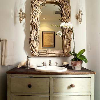 Orrick and Company - bathrooms - branch, mirror, repurposed, wood, chest, single, bathroom, vanity, orchid, repurposed washstand, repurposed bathroom vanity, repurposed bathroom cabinet, vintage washstand, vintage bathroom cabinet, vintage bathroom vanity, vintage bathroom cabinet, driftwood mirror, rectangular driftwood mirror,