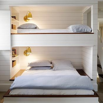 Orrick and Company - boy's rooms - built-in, bink, beds, polished, brass, sconces, bunk bed ladders, removable bunk bed ladders, white bunk bed ladders, bunk beds, built in bunk beds, boys bunk beds, boys built in bunk beds, boys beds, wood panel bunk beds, wood panel built in bunk beds,