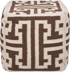 Seating - Greek Key Pouf | Vielle and Frances - brown, lattice, pouf