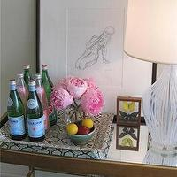 Elizabeth Sullivan Design - living rooms - mirrored, console, table, pellegrino, books, cobalt, blue, glassware, glass, lamp, pink, peonies, art, black, gallery, frame, python tray, bar tray, mirrored console table, Python Tray,