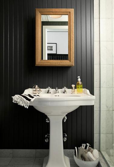 Beadboard Backsplash Contemporary Bathroom The