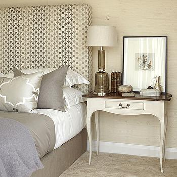 Kim Stephen - bedrooms - sand, grasscloth, wallpaper, gray, silk, tall, upholstered, headboard, gray, bedding, gray, silver, metallic, quatrefoil, Moorish, tiles, fabric, pillow, gray, linen, pillow, ivory, nightstand, cabriole, table legs, gray bedrooms, gray bedding, gray pillows, gray bedroom design, gray bedroom, gray bedding, gray sheets,