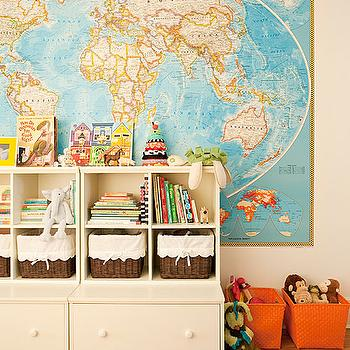 The Brooklyn Home Company - boy's rooms - world, map, orange, plastic, bins, ivory, storage, drawers, bins, wicker, baskets, kids bookshelf, kids toy cabinet,