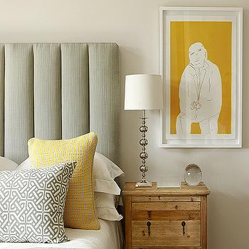 Kim Stephen - bedrooms - gray, linen, padded, headboard, yellow, gray, pillows, yellow, art, yellow and gray bedroom, gray and yellow bedroom, gray and yellow bedrooms, gray padded headboard, gray headboard,