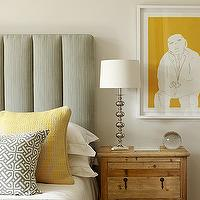 Kim Stephen - bedrooms - gray, linen, padded, headboard, yellow, gray, pillows, yellow, art, yellow and gray bedroom, gray and yellow bedroom, gray and yellow bedrooms,