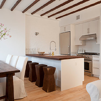 The Brooklyn Home Company - kitchens - espresso, stained, wood beams, white, shaker, kitchen cabinets, marble, countertops, white, kitchen island, walnut, butcher block, countertop, chunky, wood, geometric, stools, espresso stained, Asian, dining table, white, slipcovered, dining chairs, Ikea Henriksdal Chair,