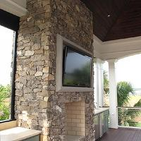 Brown Meihaus Construction - decks/patios - covered, deck, stone, fireplace, flatscreen, tv, green, shaker, kitchen cabinets, outdoor, sink, fridge, outdoor fireplace, outdoor TV, deck fireplace, deck TV, deck flatscreen TV, deck kitchen, outdoor kitchen,