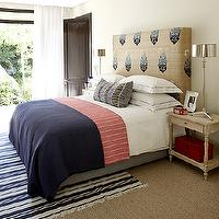 Kim Stephen - bedrooms - burlap, headboard, navy blue, paisley, print, white, hotel bedding, navy blue, stitching, red, blue, blanket, polished nickel, lamps, white, navy blue, striped, rug, white, sheers, glossy, black, door,