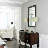 AM Dolce Vita - dining rooms - Dining Room wainscoting, Benjamin Moore Revere Pewter, Mahogany buffet sideboard, buffet lamps, rever pewter,