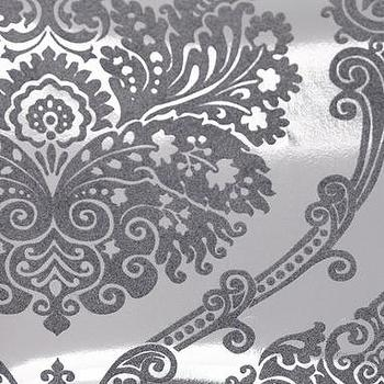 Wallpaper - lattice flocked foil wallpaper - charcoal - $49.00 : brocade home - metallic, foil, wallpaper