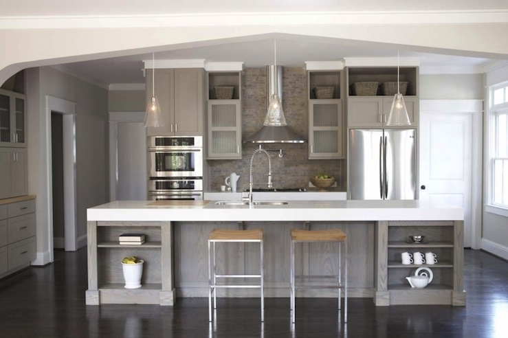 Gray kitchen cabinets contemporary kitchen sherwin for Grey kitchen cabinets what colour walls