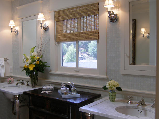 Lori Gilder - bathrooms - marble, mosaic, tiles, backsplash, chair rail, subway tiles, backsplash, marble, 2 leg, washstands, black, antique, cabinet, white, inset, medicine, cabinets, bamboo, roman shades,