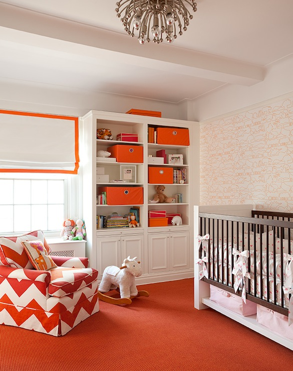 Lilly Bunn Interior - nurseries - Robert Abbey Anemone Flushmount Pendant, white, orange, animals, wallpaper, orange, chevron, zigzag, glider, white, roman shade, orange, ribbon, trim, white, built-ins, orange, linen, baskets, white, espresso, modern, crib, orange, carpet, white and orange nursery, orange nursery, chevron chair, nursery built ins, nursery built in cabinets,