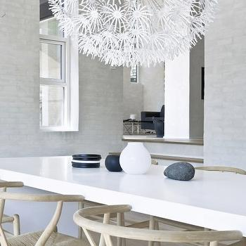 dining rooms - white, dining table, ikea pendant, ikea chandelier, ps maskros, Ikea PS MASKROS Pendant, Hans Wegner Wishbone Chair,  via Pinterest