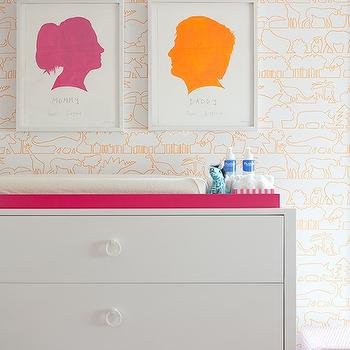 Lilly Bunn Interior - nurseries - white, orange, animals, wallpaper, white, modern, changing table, white, ring, pulls, hardware, hot pink, lacquer, tray, pink, orange, silhouette, art, white changing table, silhouette prints, silhouette art prints,