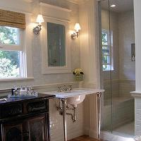 Lori Gilder - bathrooms - mosaic, tiles, backsplash, shower surround, marble, 2 leg, washstands, white, inset, medicine, cabinets, chair rail, subway tiles, backsplash, bamboo, roman shades, glass, shower,