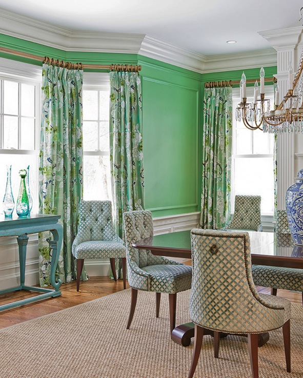 Katie Rosenfeld Design - dining rooms - Stark Paint - Chelsea Green - green, walls, green, Baker, tufted, chairs, seagrass, rug, rectangular, dining table, wainscoting, green, blue, drapes, turquoise, blue, console, table, green walls, green dining room walls,
