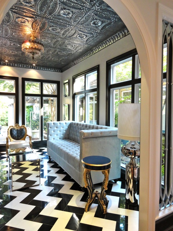 Chevron Floor Hollywood Regency Living Room Liv Chic