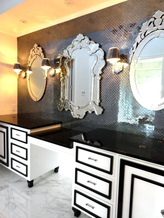 Black And White Vanity Hollywood Regency Bathroom Liv Chic Interior Design