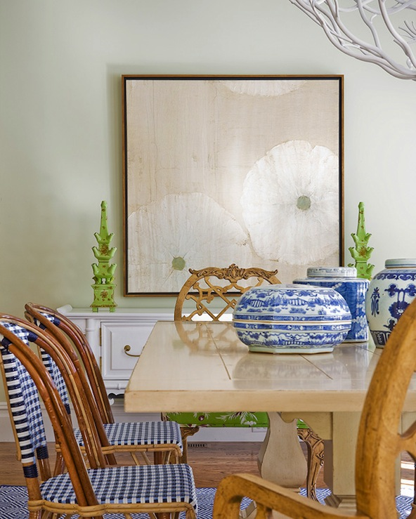 Katie Rosenfeld Design - dining rooms - spring, green, walls, trestle, dining table, blue, gingham, dining chairs, white, faux bamboo, Hollywood Regency, buffet, ming, jars, vases, blue, diamonds, rug, trestle dining table, french cafe dining chairs,