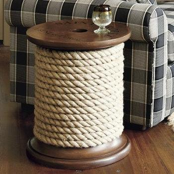 Spool Side Table, Wood Side Table |