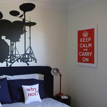 boy's rooms - drumset, wall, decal, blue, velvet, headboard, blue, pillows, blue, bedding, red, pharmacy, lamp, navy blue headboard, navy headboard, boys headboard, navy boys headboard, Keep Calm & Carry On Print - Red,