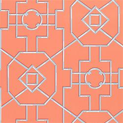 Wallpaper - Thibaut Spring Lake - Bamboo Lattice - Wallpaper - Coral - thibaut, bamboo lattice, wallpaper, spring lake, coral