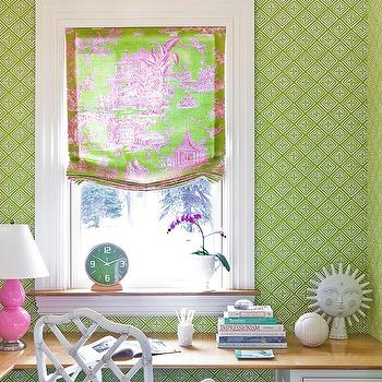Katie Rosenfeld Design - girl's rooms - green, wallpaper, hot pink, green, toile, fabric, custom, roman shade, turquoise, blue, crystal, lamp, L shaped, desk, file cabinets, orchid, L shaped desk, girls desk, built in desk, pink table lamp, pink lamp, pink double gourd lamp, pink gourd lamp, white bamboo chair, Jonathan Adler Chippendale Chair, Robert Abbey Pink Ceramic Table Lamp, Jonathan Adler Utopia Sun,