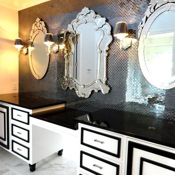 Liv Chic Interior Design - bathrooms - Liv chic, bathroom vanity, interior design, custom furniture, venetian mirror, hilary white, baroque furniture, black and white vanity, hollywood regency vanity,