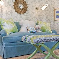 Katie Rosenfeld Design - girl's rooms - blue, velvet, loveseat, sofa, green, ottoman, green, silk, throw pillows, gold, sunburst, mirror, seagrass, rug, Saarinen, accent table, bamboo lattice wallpaper, lake bamboo lattice wallpaper, bamboo wallpaper, lattice bamboo wallpaper,