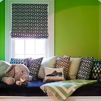 Katie Rosenfeld Design - boy's rooms - alcove, built-in, window seat, green, walls, blue, velvet, cushion, blue, geometric, fabric, roman shade, blue, gray, pillows,