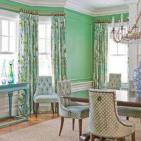 Katie Rosenfeld Design - dining rooms - Stark Paint - Chelsea Green - green, walls, green, Baker, tufted, chairs, seagrass, rug, rectangular, dining table, wainscoting, green, blue, drapes, turquoise, blue, console, table,