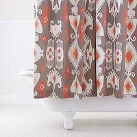 Bath - Grey/Coral Ikat Shower Curtain | Bathroom| Bed & Bath | World Market - grey, coral, ikat, shower, curtain