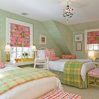 Katie Rosenfeld Design - girl's rooms - green, wallpaper, pink, roman shades, white, twin, beds, pink, bolster, pillows, green, throws, pink, wicker, ottomans, tole, chandelier, pink and green girls room, pink and green girls bedroom, pink and green room ideas, pink and green girls bedroom ideas,