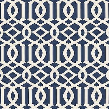 Wallpaper - DecoratorsBest - Detail1 - Sch 5005801 - Imperial Trellis II - Ivory / Navy - Wallpaper - DecoratorsBest - imperial trellis, navy blue, wallpaper