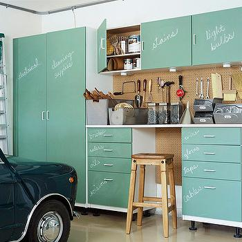 Martha Stewart - garages - utility, cabinets, chalkboard, doors, stool, peg board, vintage, bins, garage cabinets, utility cabinets,  Well organized