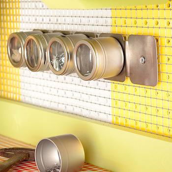 Martha Stewart - garages - magnetic, strip, canisters, organized garage,  Organized utility wall with magnetic strip & canisters.