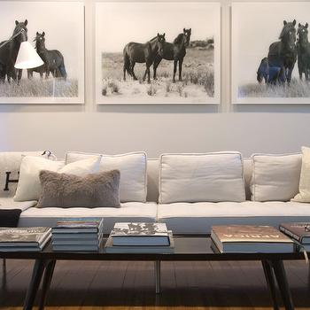 Jarlath Mellett - living rooms - gray, mohair, pillow, trio, black, white, horse, art, white, modern, tufted, sofa, oval, coffee table, white tufted sofa, horse art, art over sofa, art above sofa,