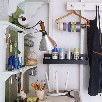 Martha Stewart - garages - white, green, utility, wall, peg, boards, tool shelf, wood hanger, repurposed, ribbon, holder, spray paint, rack, peg board, utility peg board, garage peg board, well organized garage, organized garage, tools peg board,