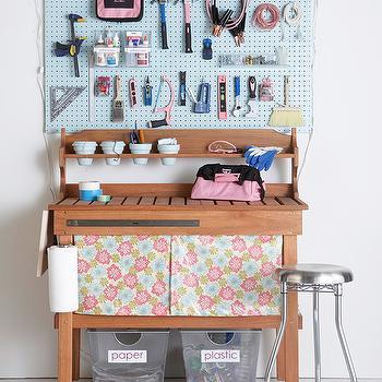 Martha Stewart - garages - aluminum, bins, wood, work station, baby blue, utility, peg board, industrial, stools, pink, craft, tools, garage peg board, garage workstation,