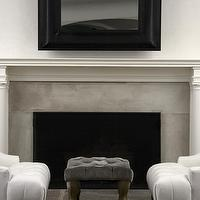 Jarlath Mellett - living rooms - stone, fireplace, charcoal, gray, velvet, tufted, ottoman, bench, white, leather, tufted, wingback, chairs,