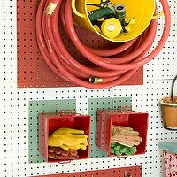 Martha Stewart - garages - utility, wall, peg boards, yellow, bucket, red, garden, hose, red, small, cubbies, garden gloves, hooks, garden tools,