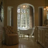 Luxe Interiors - bathrooms - claw foot tub, crystal knobs, venetian mirror, crema marfil marble, basket weave tile, white moldings, crystal chandelier, wood columns, single vanity, crystal wall sconce, nickel faucet, crema marfil, crema marfil marble, crema marfil marble counters, crema marfil marble countertops, crema marfil tile bathroom, crema marfil bathroom tiles, crema marble tiles, crema marble, crema marble floor, crema marfil marble tiles, crema marfil marble floor, crema marble countertops, crema marfil marble bathroom, crema marfil tile bathroom,