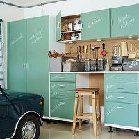 Martha Stewart - garages - utility, cabinets, chalkboard, doors, stool, peg board, vintage, bins,  Well organized garage with utility cabinets